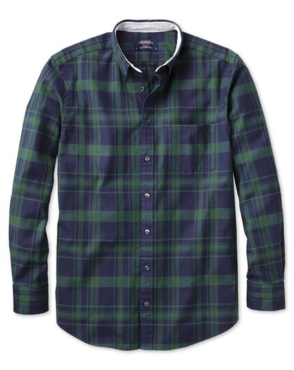 Extra slim fit navy and green check washed Oxford shirt