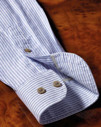 Classic Fit Schlupfhemd in Mittelblau mit Streifen