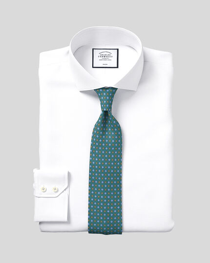 Slim fit cutaway collar non-iron herringbone white shirt