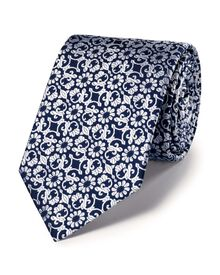 Navy silk luxury floral tie