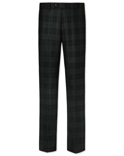 Green and black slim fit tartan pants