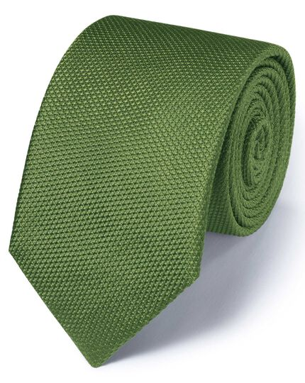 Green silk classic plain tie