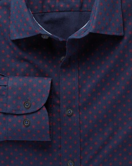 Extra slim fit navy and red spot print shirt