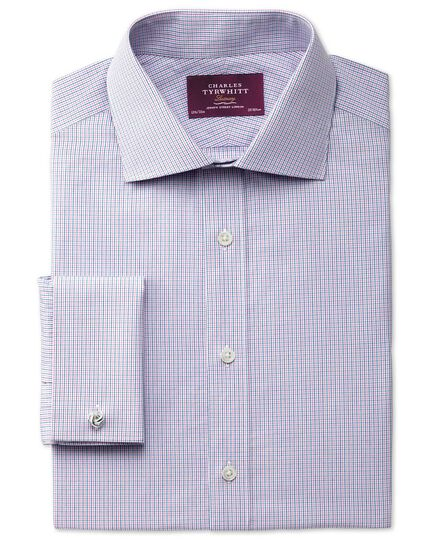 Slim fit semi-cutaway collar luxury poplin blue and pink shirt