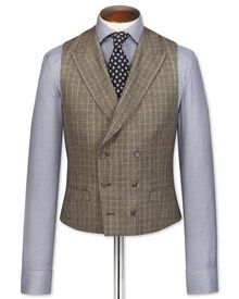 Tan British check flannel luxury suit waistcoat