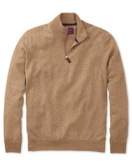Tan cashmere zip neck jumper