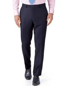 Navy slim fit birdseye travel suit trousers