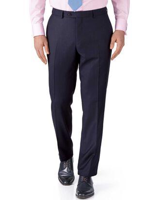 Navy slim fit birdseye travel suit trousers