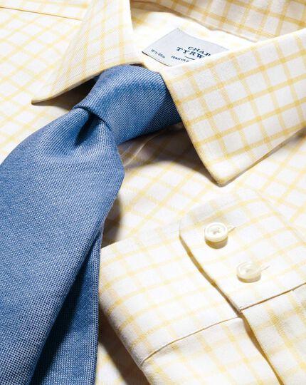 Slim fit non-iron twill grid check light yellow shirt