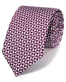 Magenta silk luxury English end-on-end geometric tie