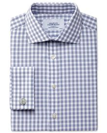 Extra slim fit semi-cutaway collar textured gingham navy shirt