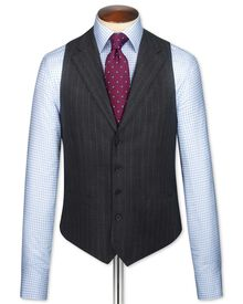 Charcoal saxony business suit waistcoat