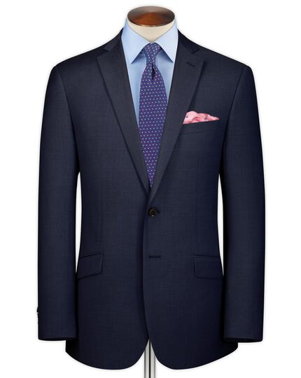 Ink blue classic fit sharkskin business suit jacket
