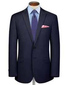 Dark blue classic fit sharkskin business suit