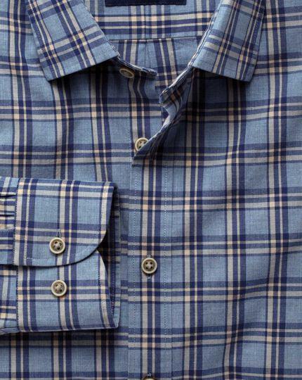 Extra Slim Fit Hemd in Blau und Marineblau Meliert mit Karos