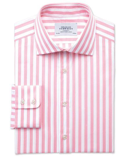 Slim fit semi-cutaway collar Egyptian cotton stripe pink shirt