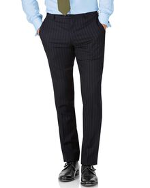 Navy stripe slim fit twill business suit trouser