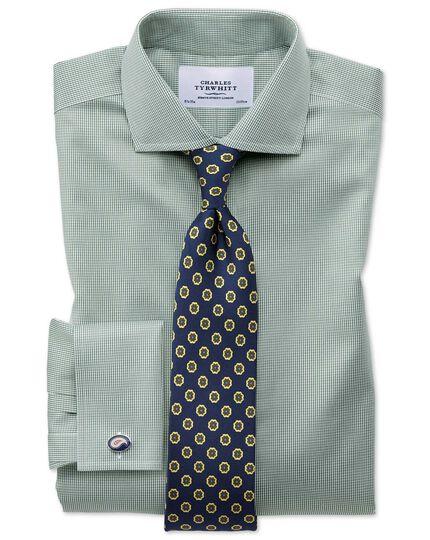 Slim fit cutaway non-iron puppytooth olive shirt