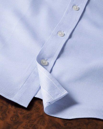 Slim Fit Hemd aus ägyptischer Baumwolle in Himmelblau mit Diamant-Struktur