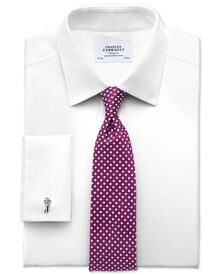 Extra slim fit non iron imperial weave white shirt