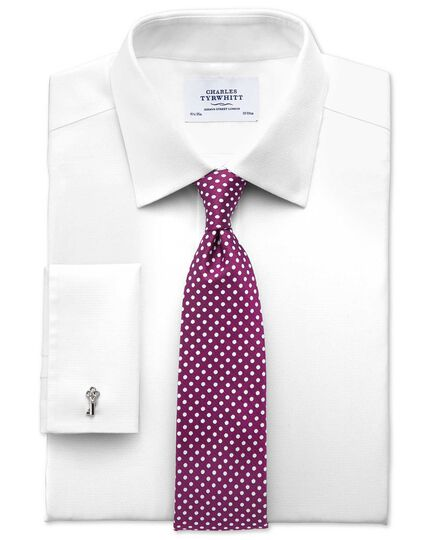 Extra slim fit non-iron imperial weave white shirt