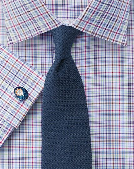 Classic fit Jermyn Street check sky blue shirt