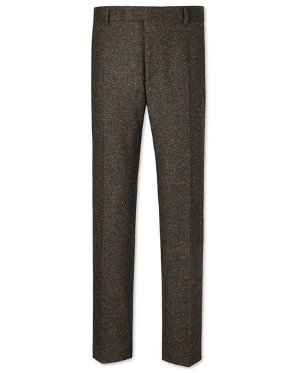 Green slim fit Donegal tweed pants