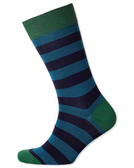 Socken in Schwarz und Marineblau mit Streifen