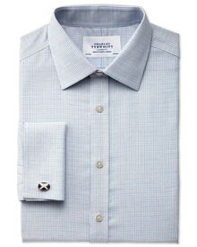 Slim fit non-iron textured grey check shirt