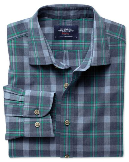 Classic fit blue and green check heather shirt