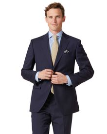 Classic Fit Business Anzug Sakko aus Twill in Marineblau