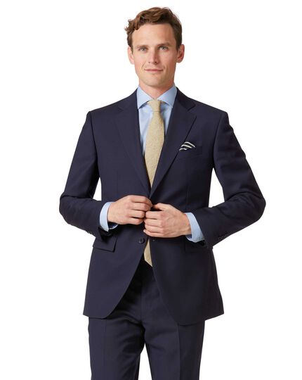 Classic Fit Businessanzug Sakko aus Twill in marineblau