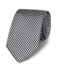 Black silk classic puppytooth tie