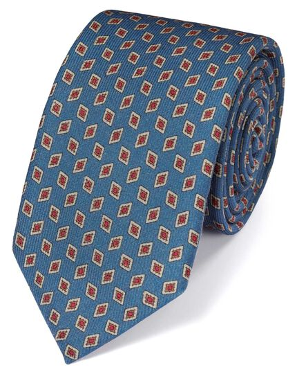 Mid blue silk print luxury tie