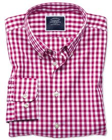 Extra slim fit button-down non-iron poplin red gingham shirt
