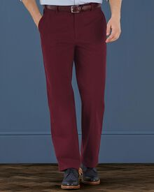 Red classic fit flat front weekend chinos