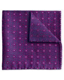 Luxuriöses englisches Einstecktuch in magenta mit geometrischem Muster