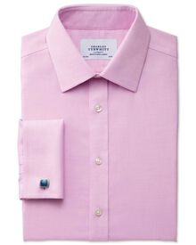 Extra slim fit non-iron micro spot pink shirt