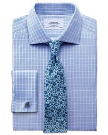 Slim fit Prince of Wales sky blue shirt
