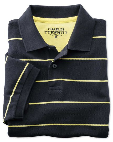 Classic fit navy striped pique polo