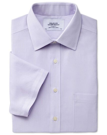 Slim fit non-iron short sleeve bengal stripe lilac shirt