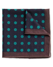 Navy and blue wool spot pocket square