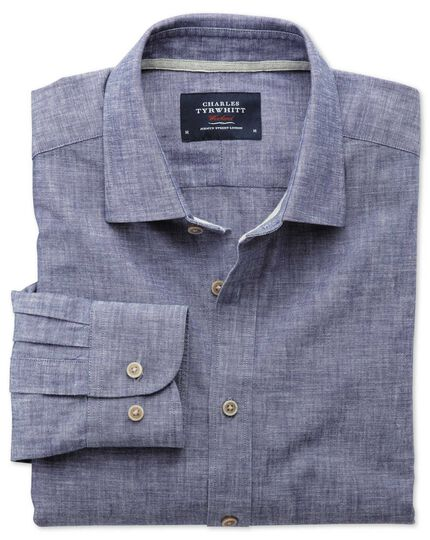 Extra slim fit chambray navy textured shirt