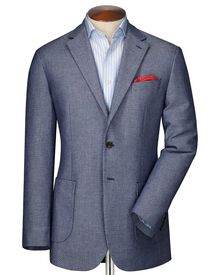 Slim fit navy and white semi-plain jacket