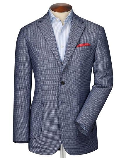 Slim fit navy and white semi-plain jacket