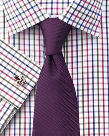 Slim fit Jermyn Street check pink and green shirt