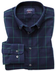 Classic fit button-down washed Oxford navy blue and green check shirt