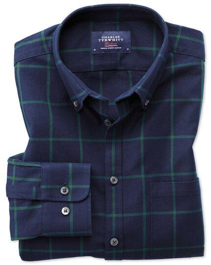Slim Fit Oxfordhemd in MarineBlau und Grün mit Karos