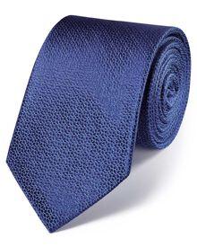 Navy silk classic geometric floral tie