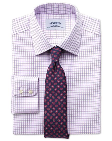 Classic fit non-iron windowpane check lilac shirt